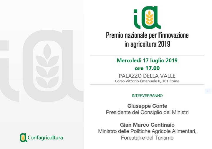 Premio nazionale per l'innovazione in agricoltura con il Premier Giuseppe Conte ed il Ministro Gian Marco Centinaio