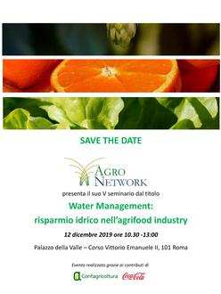 "Invito seminario Agronetwork - ""Water management: risparmio idrico nell'agrifood industry"""
