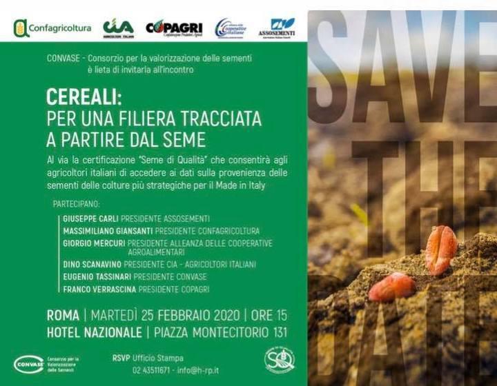"""Al via la certificazione """"Seme di qualità"""". Presentazione dell'iniziativa a Roma il 25 febbraio, in un incontro con la stampa"""