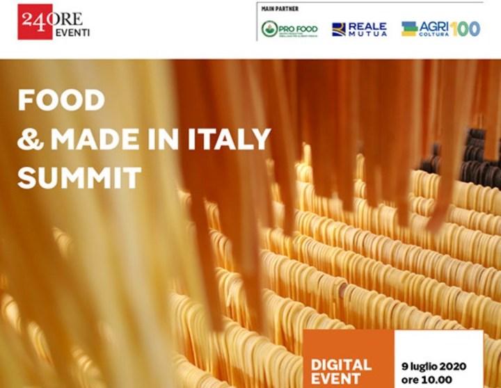 NUOVI SCENARI E SFIDE PER IL FOOD IN ITALY  Live streaming Sole 24 Ore – Giovedì 9 luglio – Ore 10:00