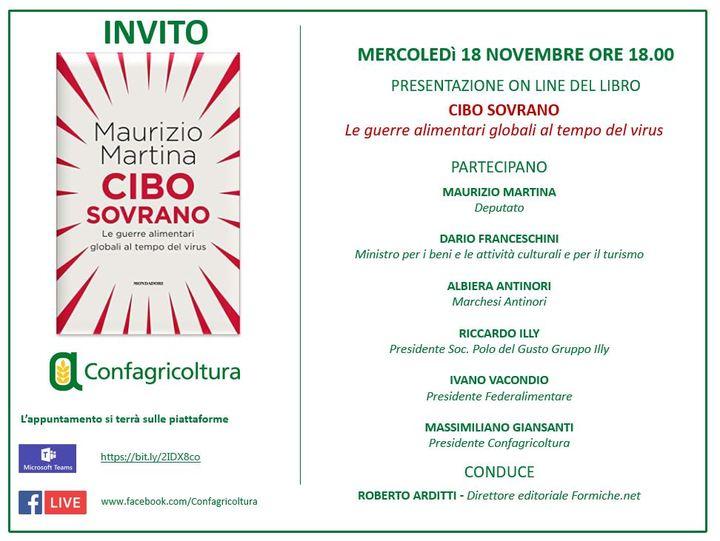 """INVITO - """"Cibo sovrano"""": l'ex ministro Martina incontra Giansanti, Franceschini, Antinori, Illy e Vacondio"""