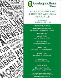 """Webinar """"Come comunicare l'impresa agricola femminile"""" 9 marzo 2021 ore 17.00"""
