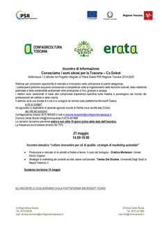 """Incontro di Informazione """"Conosciamo i semi oleosi per la toscana – Co.Soleat"""" - Sottomisura 1.2 attivata nel Progetto Integrato di Filiera Soleat PSR Regione Toscana 2014-2020"""