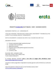 """METODOLOGIE DI ANALISI DEGLI INVESTIMENTI"""" """"RIFORMA DELLA PAC E IMPATTI SULLE AZIENDE AGRICOLE"""