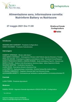 """Save the date, 27 maggio: """"Alimentazione sana, informazione corretta: Nutrinform battery vs Nutriscore"""""""