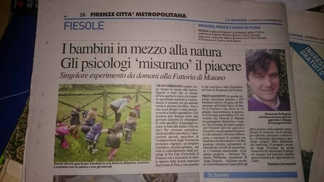 Al via il progetto #AGRIPSI promosso dai Giovani di Confagricoltura - Anga Toscana. 250 bambini alla Fattoria Di Maiano saranno i protagonisti dello studio che valuta gli effetti benefici del paesaggio sul benessere psicofisico