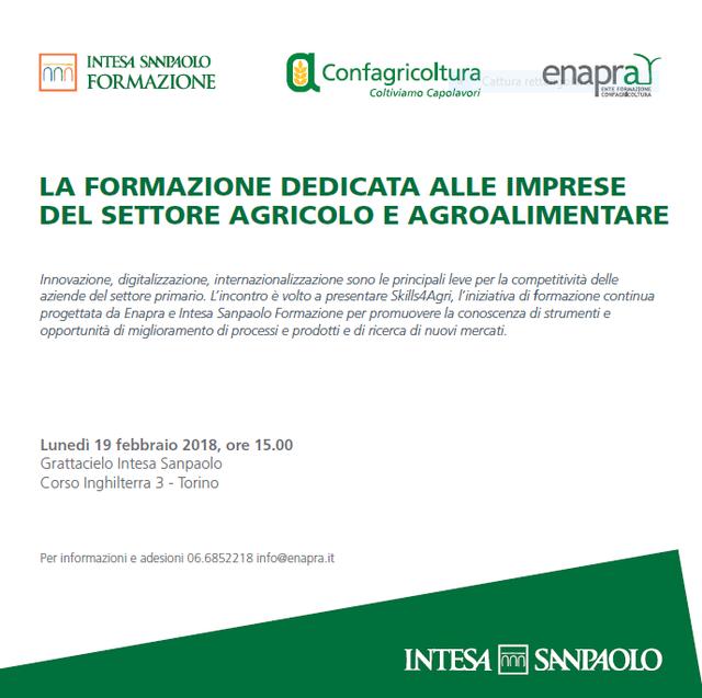 Appuntamento con la #formazione per le #imprese #agricole a Torino il 19 febbraio