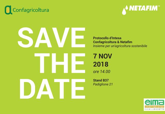 Save the date: Confagricoltura & Netafim insieme per un'agricoltura sostenibile