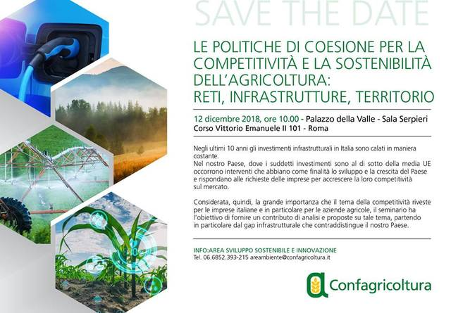 """Save the date: """"Le politiche di coesione per la competitività e la sostenibilità dell'agricoltura"""", Roma – Palazzo della Valle, 12 dicembre 2018"""