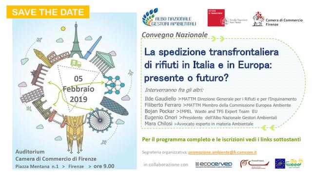 """Convegno Nazionale """"La spedizione transfrontaliera di rifiuti in Italia e in Europa"""""""