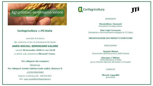 """INVITO - """"Agro-Social: seminiamo valore"""": venerdì 20 novembre la premiazione dei vincitori del bando Confagricoltura-JTI Italia"""