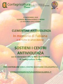 25 NOVEMBRE, CONFAGRICOLTURA DONNA: CLEMENTINE PER SOSTENERE CENTRI ANTIVIOLENZA