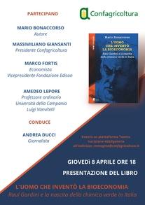 """INVITO - PRESENTAZIONE LIBRO DI MARIO BONACCORSO """"L'UOMO CHE INVENTO' LA BIOECONOMIA""""  GIOVEDI' 8 APRILE, ORE 18"""