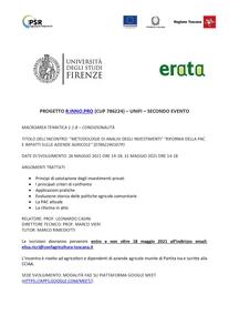 """INCONTRO: """"METODOLOGIE DI ANALISI DEGLI INVESTIMENTI"""" """"RIFORMA DELLA PAC E IMPATTI SULLE AZIENDE AGRICOLE"""" (07862240107P)"""